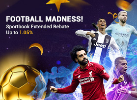 Football Madness! Sportbook extended rebate up to 1.05%